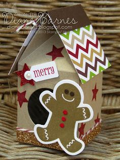 Stampin Up milk carton Christmas gingerbread house by Di Barnes - colourmehappy #stampinup #Christmas #colourmehappy