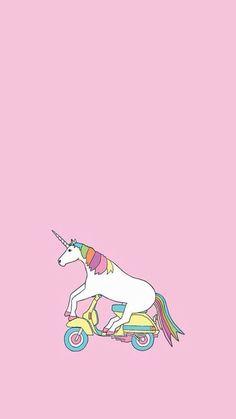 Minimalist: rainbow unicorn on a motorcycle with millennial pink background Phone lock screen wallpaper Unicorn Backgrounds, Cute Backgrounds, Cute Wallpapers, Real Unicorn, Cute Unicorn, Rainbow Unicorn, Unicornios Wallpaper, Wallpaper Backgrounds, Geeks