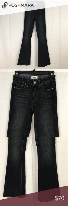 Paige jeans 23 high rise bell canyon blue dark Paige High Rise Bell Canyon Jeans size 23. Dark blue wash. In perfect condition. Flare. 98% cotton 2% spandex. 33'' inseam. Bought at Anthropologie. PAIGE Jeans Flare & Wide Leg