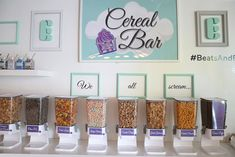 Eatertainment's Beats & Eats Bash Bat Mitzvah Party, Bar Mitzvah, Sundae Bar, Bar Displays, Cereal Bars, Icecream Bar, Cute Wedding Ideas, Cool Bars, Fun Desserts