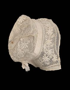 First half 19th century, Europe - Cap - Cotton mull with cotton embroidery, linen bobbin lace insertion, and silk ribbon