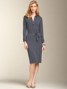 Talbots - Geo-Diamond Matte Jersey Shirtdress | New Arrivals | Misses