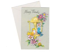 Vintage 1960s Colorful Birds and Flowers Thank You by GubbaGumma