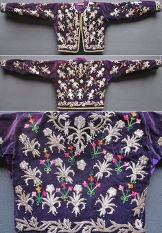 A traditional 'cepken' (long-sleeved jacket) from the Bilecik province.  Part of an ensemble (with matching 'şalvar'/baggy trousers.  Urban style, ca. 1925. The small flower motifs are embroidered in multicoloured shiny cotton (semi-artisan's work, done with sewing machine).  The embroidery in silver metallic thread is handicraft, executed in 'Maraş işi'-technique; some metal sequins were added to the silver motifs.  (Inv.n° cep048 - Kavak Costume Collection - Antwerpen/Belgium).