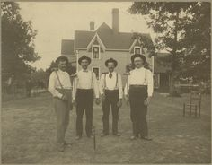 Gentlemen from W.E. Logan's croquet party at his home, 124 Logan Ave., West Asheville, NC, ca. 1895.  W.E. Logan (1860-1916) is on the far left. Lewis Burgin McBrayer (1869-1920), W.E.'s brother-in-law, is on the far right.