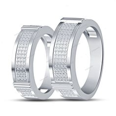 925 Silver Round Cut Simulated Diamond in 14K White Gold Finish Couple's Band…