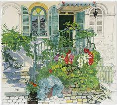 Fabrice Moireau nous invite à une promenade florale mêlées d'architechture aux couleurs de l'été de Paris à Giverny à travers un service inspiré de 8 aquarelles extraites des ouvrages Le jardin de Claude Monet à Giverny et Jardins de Paris.
