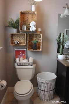Smart And Easy Bathroom Storage Ideas Simple and rustic decor for the guest bathroom. - Smart And Easy Bathroom Storage Ideas Simple and rustic decor for the guest bathroom. Small Bathroom Storage, Simple Bathroom, Storage Spaces, Storage Organization, Smart Storage, Master Bathroom, Storage Shelves, Bathroom Plants, Cabinet Storage