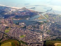 Aerial view of Port Talbot, South Wales, UK