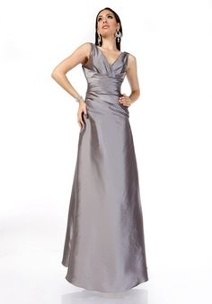 Taffeta sleeveless, floor length gown with V-neckline, a natural waistline and ruched bodice
