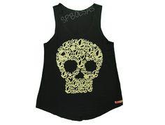 Regatas Femininas | Regata Cavada Longa Sweet Skull Preta Acesse: http://www.spbolsas.com.br/atacado/ #Regatas #Femininas #Atacado