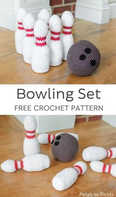 Projects Amigurumi Little ones will love this adorable crochet bowling set! It's perfect for little hands and great for developing hand-eye coordination and spacial awareness. So much fun that older siblings will want to get in on the action too! Crochet Pattern Free, Crochet Game, Crochet Baby Toys, Crochet Patterns Amigurumi, Crochet Gifts, Cute Crochet, Crochet For Kids, Crochet Dolls, Knitting Patterns