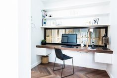 The Block Glasshouse Scandinavian Office Furniture, Scandinavian Dining Table, Home Office Design, House Design, The Block Glasshouse, Computer Nook, Melbourne Apartment, Study Nook, Built In Desk