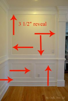 DIY:: Wall Treatment Specs For Wainscoting - look at the molding before it was painted at week 3 www Home Renovation, Home Remodeling, Wall Molding, Molding Ideas, Moulding, Moldings And Trim, Crown Moldings, Trim Work, Custom Wall