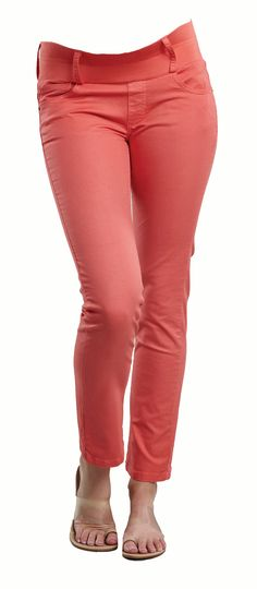 Skinny Ankle Maternity Jeans in Coral from Maternal America  http://www.justmaternityjeans.com/usa/skinny-ankle-maternity-jeans