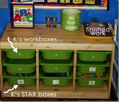 """Behind the Scenes ~ Preschool Workboxes Preschool Home Center Boxes- Parent-Prepped everyday with """"Star"""" boxes for bonus activities after required units are completed. Learning Time, Learning Tools, Early Learning, Workbox System, Preschool Classroom, Preschool Ideas, Kindergarten, Classroom Ideas, Craft Ideas"""