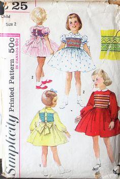 Vintage 1960s Simplicity sewing pattern #S25;Child's #supplies @EtsyMktgTool #vintagepattern #vintagesimplicity #simplicitys25 #smocking
