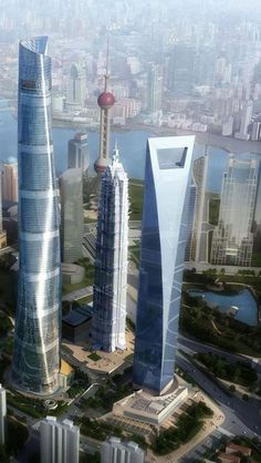by Gensler Architecture (left) :: 128 floors, height and Shanghai World Financial Center, China by Kohn Pedersen Fox Associates. Architecture (right) :: 101 floors, height Gothic Architecture, Futuristic Architecture, Amazing Architecture, Amazing Buildings, Modern Buildings, Places Around The World, Around The Worlds, Shanghai World Financial Center, Shanghai Tower
