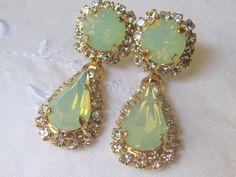 Crystal mint and clear Chandelier earrings, Dangle earrings, Bridal earrings, bridesmaids earrings, vintage earrings. $66.00, via Etsy.