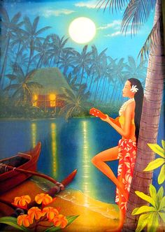 Another great poster this one Vintage Wahine at midnight. This kind of poster gives a vibe to the Tiki Bar got to give it the ambience of being in a tropical location. Polynesian Art, Polynesian Culture, Hawaiian Art, Vintage Hawaiian, Hawaiian Woman, Tiki Art, Aloha Hawaii, Tropical Art, Surf Art