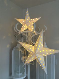 Hang or freestand these fabulous paper star lanterns complete with lights and batteries .. Come flat packed .. Small measures 35cmLarge measures 55cm both in white