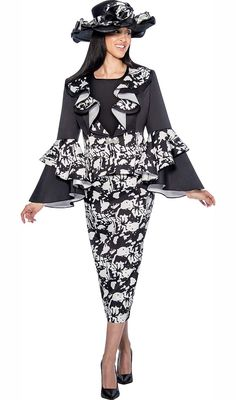 GMI G6453-BlackWhite - Printed Skirt Suit With Ruffle Design Peplum Jacket
