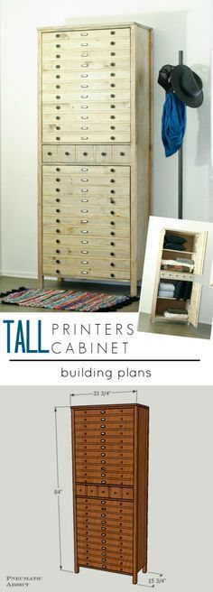 Make a tall Printer's style building cabinet with FREE building plans.                                                                                                                                                                                 More