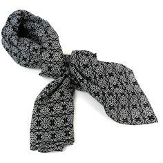 Black and White Floral Cotton Scarf - Asha Handicrafts
