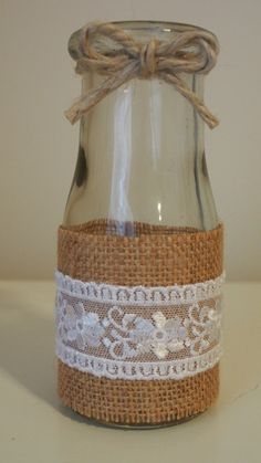 Rustic burlap / Hessian and lace mini milk bottle by chicNrustic