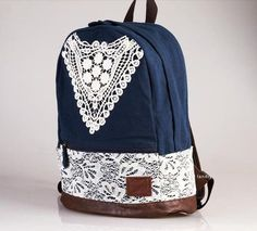 Cheap Fashion College Style Triangle Lace Canvas Backpack For Big Sale!Fashion College Style Triangle Lace Canvas Backpack is a perfect school bag. Cute Canvas Backpack, Lace Backpack, Backpack Purse, Crochet Backpack, Floral Backpack, Cheap Fashion, Look Fashion, Fashion Bags, Fashion Backpack