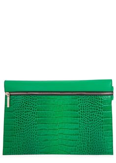 VICTORIA BECKHAM Bright Green Leather Clutch £470.00 - Get carried away with crazy clutches that reveal a fun-tastic side to autumn style