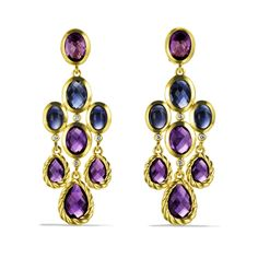 Chandelier Earrings with Amethyst and Diamonds in Gold