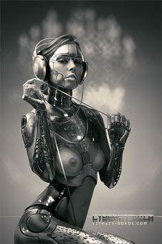Cyberatonica Chrome by Vitaly Sokol #cyberpunk #cybertech #android #cyborg #woman #beauty