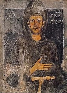 Oldest known portrait in existence of the saint, dating back to St. Francis' retreat to Subiaco depicted without the stigmata. Fresco at the Sacro Specco, Subiaco, Italy. St. Francis, Francis Of Assisi, Library Of Congress, Renaissance, Meditation, Jesus Christus, Rouen, Catholic Gifts, Auras