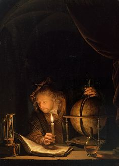 Gerrit Dou, Astronomer by Candlelight (detail), late 1650s