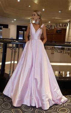 Princess V Neck Sky Blue Long Prom Dress G231