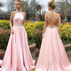 Pink A-Line Satin Prom Dresses, Beaded Backless Vintage Prom Dresses, Prom Dresses Long Pink, Beach Wear Dresses, Grad Dresses, Sexy Dresses, Formal Dresses, Pastel Prom Dress, Party Dresses, Dress Prom, Prom Gowns