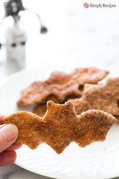 """Spooky"" Cinnamon Sugar Flour Tortilla Crisps ~ EASY Halloween treat! Crispy cinnamon sugar cookie crisps made with flour tortillas, cinnamon, sugar, and butter ~ SimplyRecipes.com"