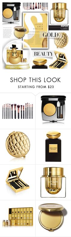 """Golden Girls: Gold Beauty"" by crochetragrug ❤ liked on Polyvore featuring beauty, M.O.T.D Cosmetics, Chanel, Estée Lauder, Giorgio Armani, Elizabeth Arden, Christian Dior and Susanne Kaufmann"