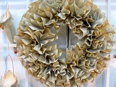 Accordion folded paperback pages wreath