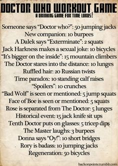 Different Doctor Who workout