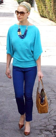 Outfit Posts: outfit post: teal sweater, black ankle pants, black wedges