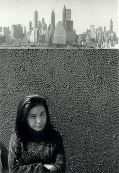 Yayoi Kusama, 'Yayoi Kusama with one of her Infinity Net paintings in New York', ca. 1961