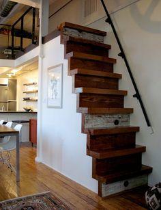Stairs to Loft : Boston - Rich + Julie's Loft : Apartment Therapy Tiny House Stairs, Tiny House Loft, Loft Stairs, Basement Stairs, Attic Stairs Pull Down, Tiny Loft, Attic House, Tiny Houses, Small Loft Bedroom