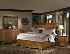 Chesapeake Oak Bedroom Furniture Set with Sleigh Bed