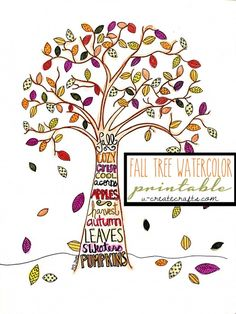 Fall Tree Watercolor Printable from MichaelsMakers U Create Crafts