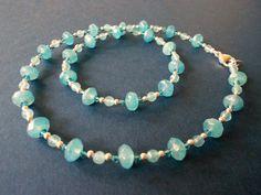 Angelite and Swarovski Crystal Necklace by mdeja on Etsy, $94.00