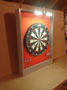 Led Lighted Gray And Orange Colored Custom Dart Board Backboard W Dmi Staple Free