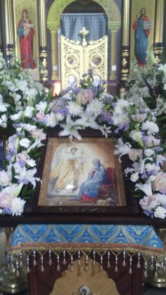 Church Flowers, Orthodox Icons, Flower Arrangements, Catholic, Frame, Tips, Painting, Home Decor, Altars