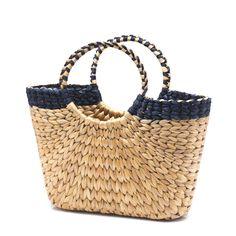 Hand woven water hyacinth shopping basket - dark blue trim